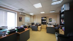 Office room with several working places end equipment. - stock footage
