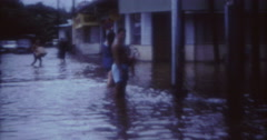 Tahiti Flood 1968 60s Historical People Bar Stock Footage