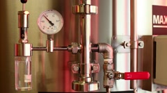 Manometer equipment for pressure control at microbrewery. Stock Footage