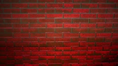 Red brick wall in restaurant under changing lighting. Stock Footage