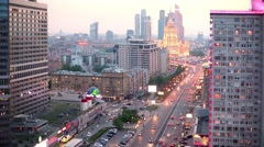 New Arbat Street and hotel Ukraine in Moscow. Stock Footage