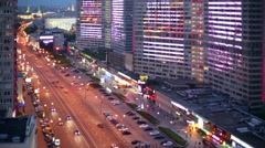 New Arbat highway and pedestrian zone in Moscow. Stock Footage