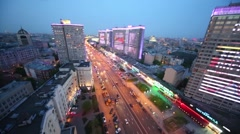 New Arbat highway and highrise buildings with illumination Stock Footage