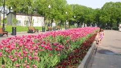 Two little girls play near large flowerbed with tulips Stock Footage