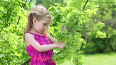 Little girl stands among greenery and investigates bush branches. Stock Footage