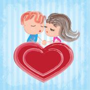 Stock Illustration of Couple on heart