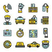 Taxi Icon Set - stock illustration