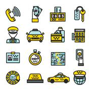 Stock Illustration of Taxi Icon Set