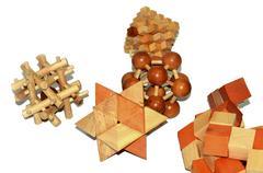 wooden logic toys - stock photo