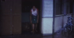 Tahiti Flood 1968 60s Historical 16mm Woman Cleaning Stock Footage