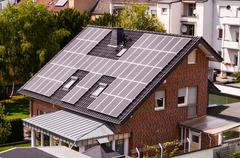 green renewable energy with photovoltaic panels - stock photo