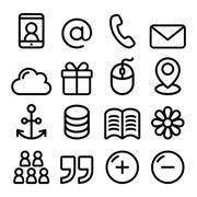 Web menu navigation line icons set - contact page, internet Piirros