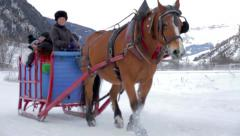 Horse Drawn Sled in the Alps Stock Footage