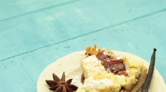 Apple pie with coffee Stock Footage