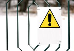 Danger sign yellow with white space to write Stock Photos