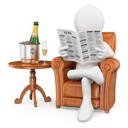 3d white people. gentleman reading the newspaper and drinking champagne - stock illustration