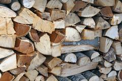 woodshed with pieces of wood cut - stock photo