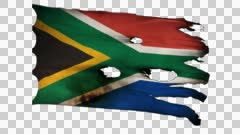 South Africa perforated, burned, grunge waving flag loop alpha Stock Footage