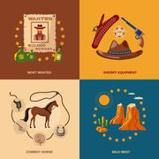 Cowboy icons flat Stock Illustration