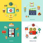 Stock Illustration of Cinema Flat Set