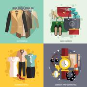 Clothes Icons Flat Stock Illustration
