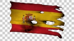 Spain perforated, burned, grunge waving flag loop alpha Stock Footage