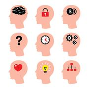 Head, man thoughts, brain vector icons set Stock Illustration
