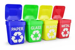 four containers of trash - stock illustration