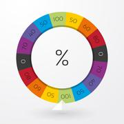 Stock Illustration of color wheel of fortune with arrow indicators and percent