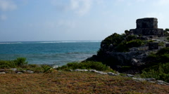 Mayan temple at the coast of Mexico Stock Footage