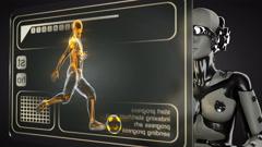 Loop robot woman manipulatihg hologram display Stock Footage