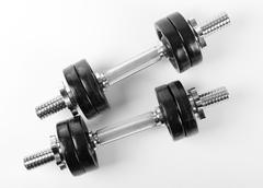 Chrome two hand barbells Stock Photos