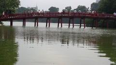 Red Bridge to Jade Island Hoan Kiem Lake Hanoi Vietnam 8185 Stock Footage