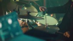 Drummer playing drum set. Close-up - stock footage