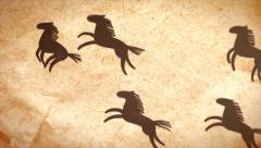 Hand drawn horse herd crossing the screen. Animation on aged paper. Stock Footage