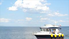 Motor Cruiser suited to the pier Stock Footage