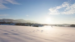 4K Timelapse of rural winter landscape with snow in austria Stock Footage