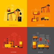 Oil Industry Flat - stock illustration