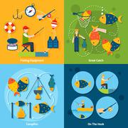 Fishing Flat Set Stock Illustration