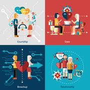 Dating Icon Set - stock illustration