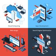 Stock Illustration of Isometric Computing Set