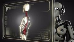 loop robot woman manipulatihg hologram display - stock footage