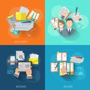 Document Icon Flat - stock illustration