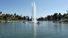 Water Fountain in Echo Park with Downtown Los Angeles in the Background Stock Footage