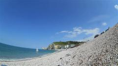 Beautiful view from the shingle beach to the church Stock Footage