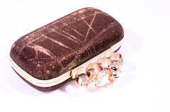 Vintage used old woman handbag Stock Photos