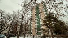 Time lapse eastern european communist architecture buildings establishments e Stock Footage
