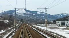 Train ride from the mountains to the plains Stock Footage
