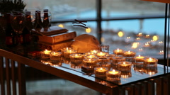 Shabbat candles in a hotel Stock Footage