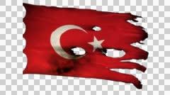 Turkey perforated, burned, grunge waving flag loop alpha Stock Footage